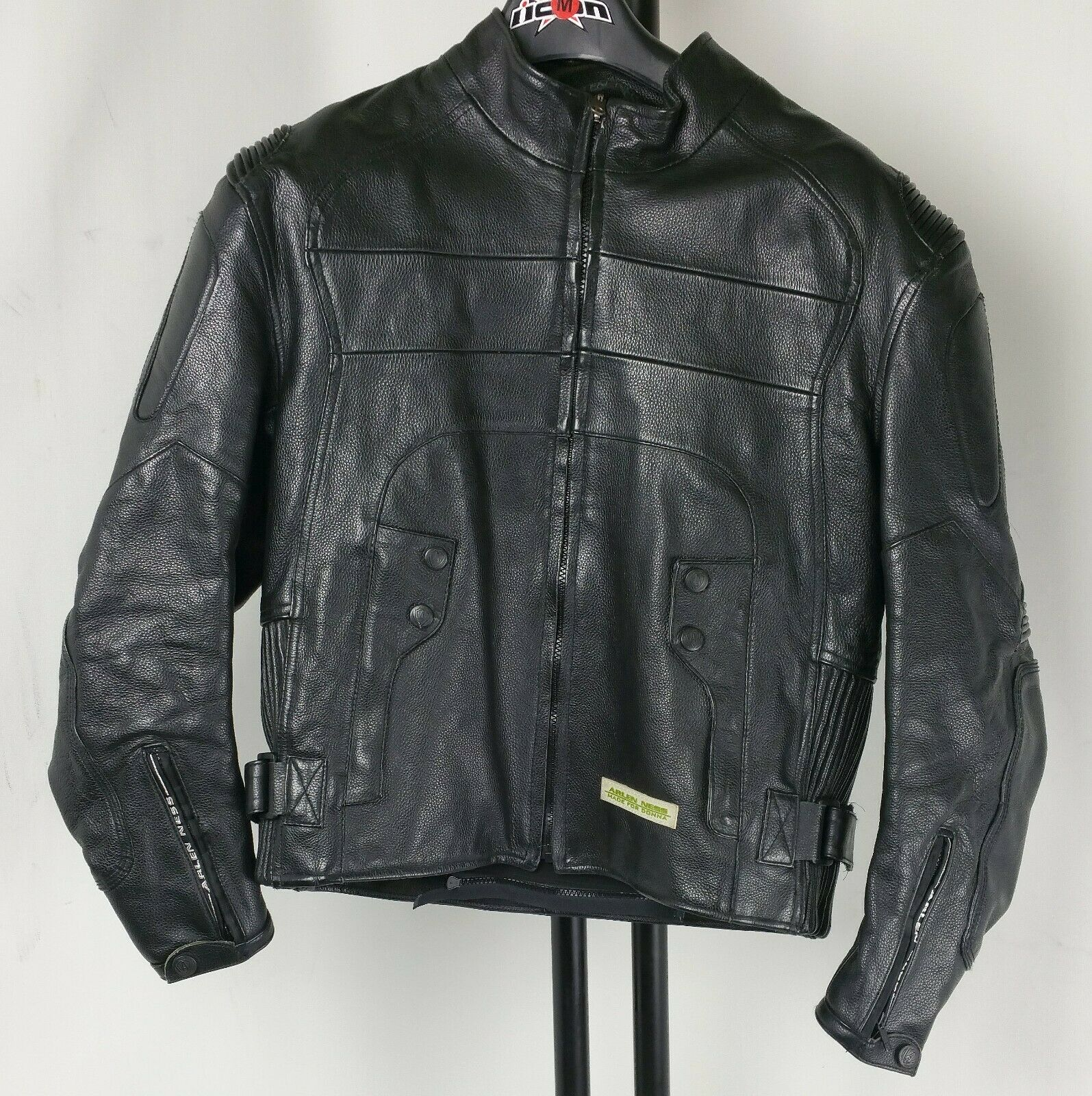 Arlen Ness Black Leather Motorcycle Riding Jacket