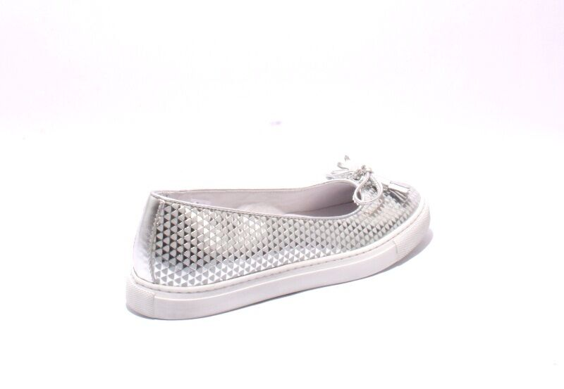 Diego Bellini 5007 Silver Leather Slip-On Bow Loafer shoes shoes shoes 39.5   US 9.5 e19498