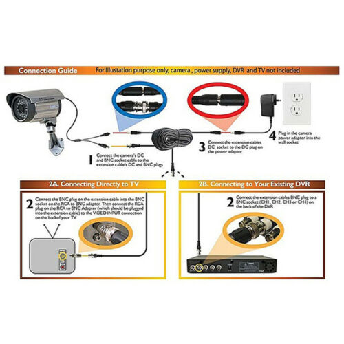 CCTV DVR Camera Recorder Video Cable DC Power Security Surveillance BNC Cable BE