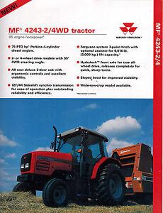 massey ferguson 4243 2 4wd tractor sales brochure 1997 ebay rh ebay com 4243 Massey Ferguson Parts Massey Ferguson 4243 Cab Inside Images