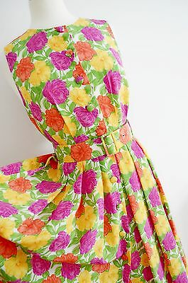 FLORAL TEA DRESS 1940's 50's style GEEK pin up COLOURFUL m&s VINTAGE belt UK 12