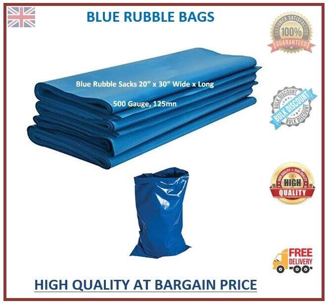 Heavy Duty Rubble Sacks Blue Bags Strong Tough Builders Rubbish Waste Bags Bulk
