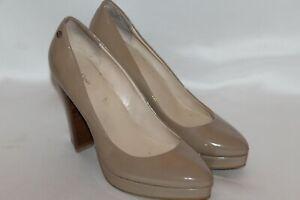 Anne Klein Beige Nude Patent Leather Classic Pump Heel