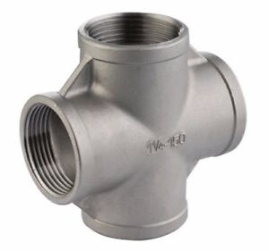 """Stainless Steel 304 Pipe Fitting 2-1/2"""" Inch 4 Way Cross Female NPT Class 150"""