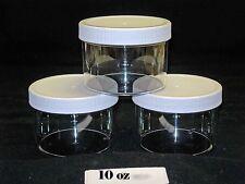 4oz to 16oz Clear Round Wide-Mouth Plastic Jars w/ Cap U-Pick Color, Size & Qty.