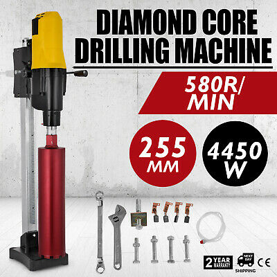4450W Diamond Core Drill Concrete Drill Machine Max 255mm w// Stand /& Drill Bits