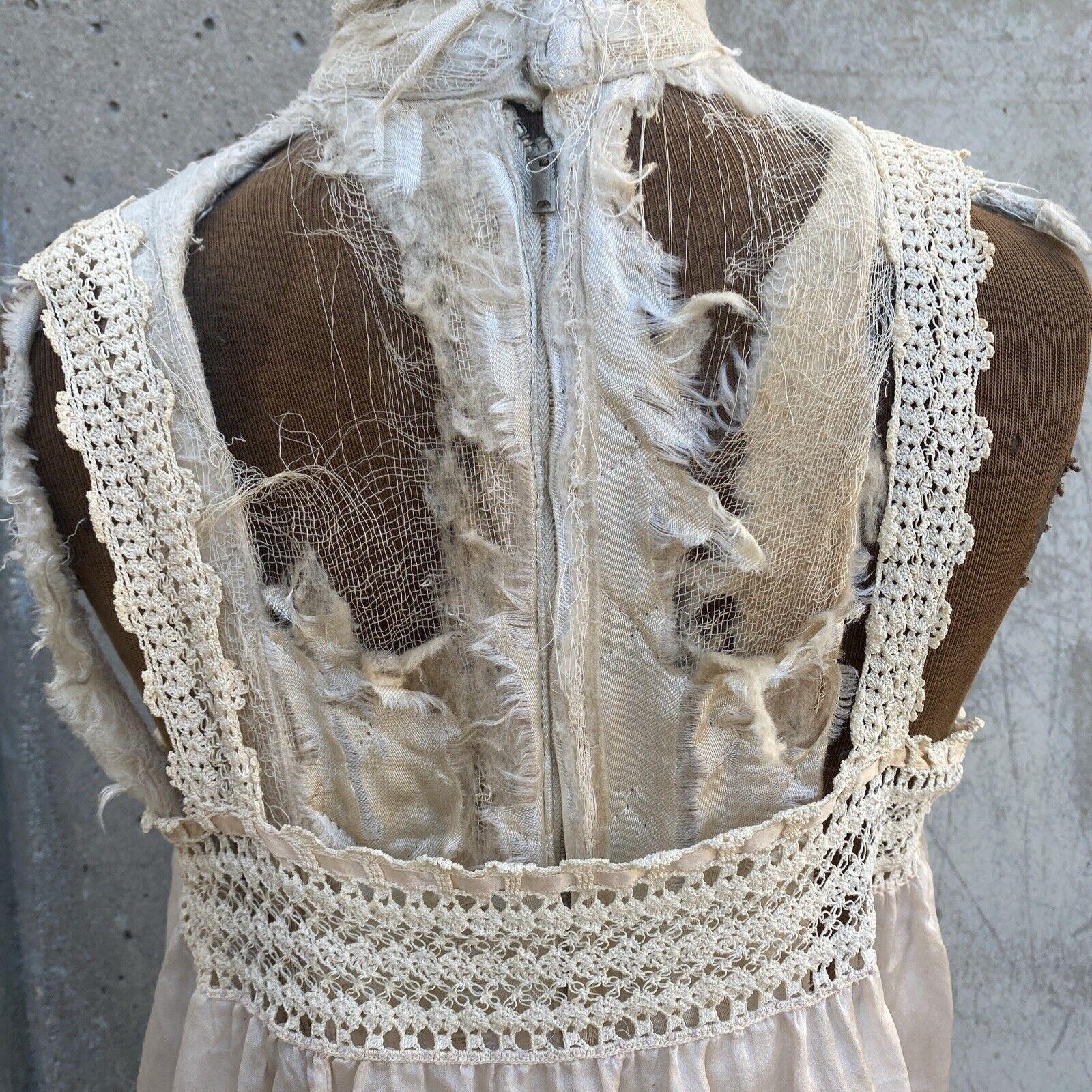 Antique Edwardian Pink Silk Blouse Corset Cover R… - image 8