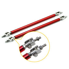 2pc Red Adjustable Front Bumper Lip Splitter Strut Rod Tie Support Bar Universal Fits Toyota Yaris