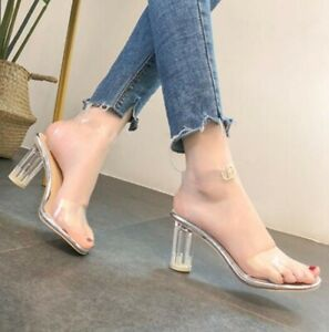 1758cfc0a38 Image is loading Transparent-Block-Heels-Buckle-Party-Fashion-Women-Peep-