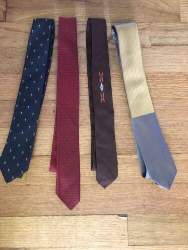 Vtg 50s 60s Retro Skinny Neck Tie Lot Silk Colorfu