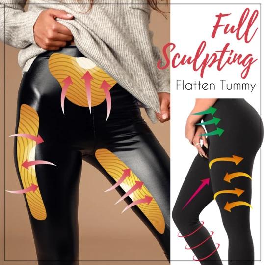 Stretch-Fit Faux Leather Shaper PU High Waist  Leggings Pants Warm For Women