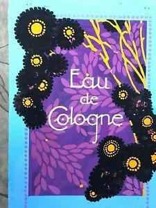Rare draft label eau de cologne art deco & paint