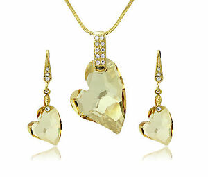 Details About 18k Gold Heart Jewellery Set Swarovski Elements Crystals Necklace Earring Uk