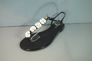 bea748881db CHANEL 39.5 Black Crackled Patent Camellia Pearl Thong Sandals Flats ...