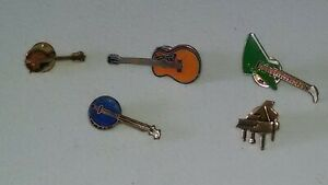 VINTAGE-GUITAR-AND-OTHER-INSTRUMENT-PINS-QTY-5-PCS