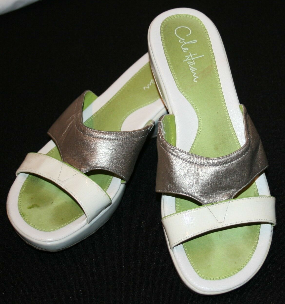 Cole Haan Slip On shoes Womens 8 1 2 B 8.5 Green White Pewter Wedge Heels