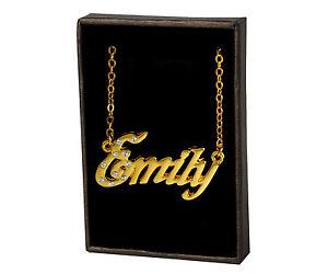 """/""""Emily/"""" Nombre Collar chapado en oro 18KPersonalizado JoyeríaRegalo De Cumpleaños"""