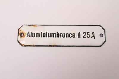 Aluminiumbronce A 25 Emailschild Kolonialwaren Apotheke Krämmerladen Ca.1900