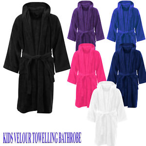 e82366e7a7 Image is loading KIDS-BATHROBE-BOYS-GIRLS-100-EGYPTIAN-COTTON-TOWELLING-