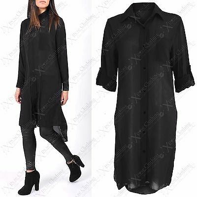 ZuverläSsig New Ladies Long Chiffon Side Split Blouse Button Shirt Womens Hilo Dip Hem Top Einen Effekt In Richtung Klare Sicht Erzeugen