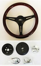 """70-77 Maverick Pinto Galaxie 13 3/4"""" Wood Steering Wheel on Black with Ford cap"""