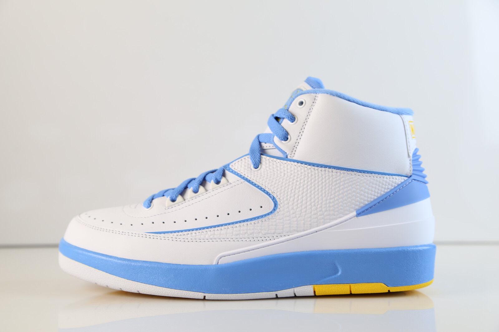 Air Jordan Retro 2 Melo White Varsity Maize University Blue Blue Blue 2018 385475-122 7 1e4925