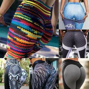 Womens-Push-Up-Yoga-Leggings-Pants-High-Waist-Sports-Ruched-Workout-Fitness-A85