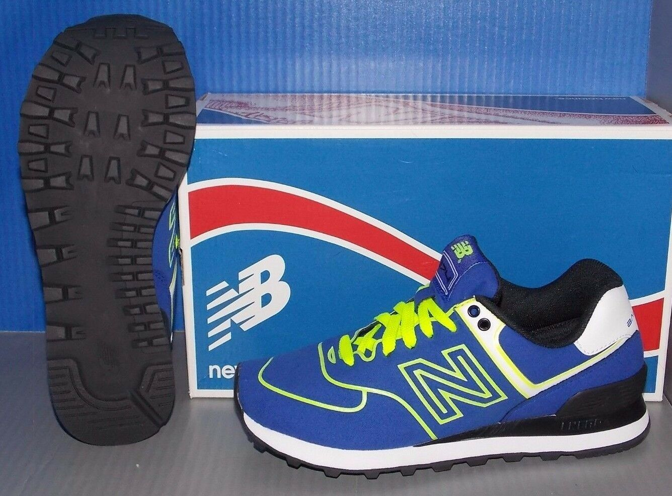 Damenschuhe NEW BALANCE WL 574 NEB in colors Blau Blau Blau / NEON YELLOW SIZE 7.5 263e59