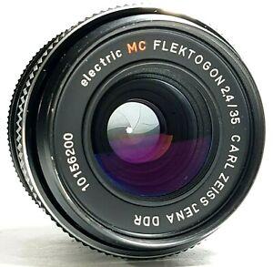 Carl-Zeiss-Jena-35mm-f2-4-DDR-FLEKTOGON-Prime-Objektiv-mit-Deckeln-m42-UK-Schnelle-Post