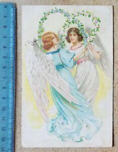 00162-Cartolina-illustrata-a-rilievo-Angeli-VG-1910