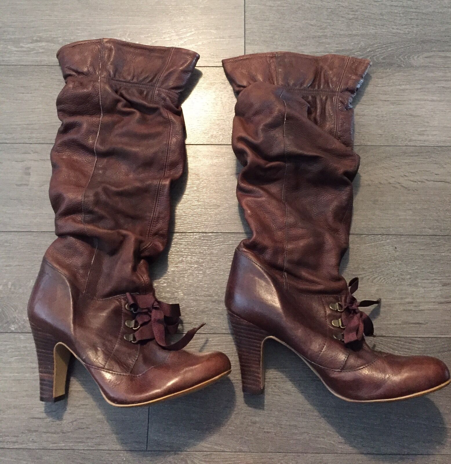 Faith Ladies Leather Knee High Boots - Brown - Size 6