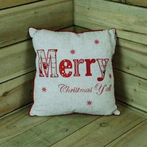 40cm x 40cm Christmas Design Ratan Cushion With Embroidered Text And Stars