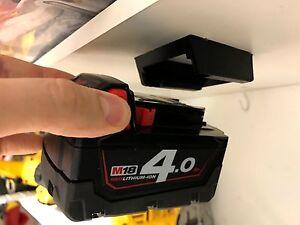 5x-BATTERY-MOUNTS-for-MILWAUKEE-M18-18v-Storage-Holder-Shelf-Rack-Stand-Slots