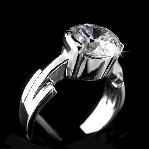 Ladies 3.35ctw SOLITAIRE AAA Grade cz WHITE gold EP & RHODIUM EP Ring   NEW