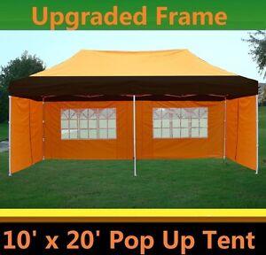 Image is loading 10-039-x20-039-Pop-Up-Canopy-Party-  sc 1 st  eBay & 10u0027x20u0027 Pop Up Canopy Party Tent - Black Orange - F Model Upgraded ...