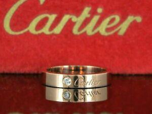1ac4bab086497 Details about $1,320 C De Cartier 18K Rose Pink Gold Round Diamond Wedding  Band #54 US Sz 6.75