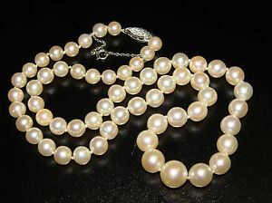 Vintage Graduated Natural Pearl Necklace 18 Quot With Diamond
