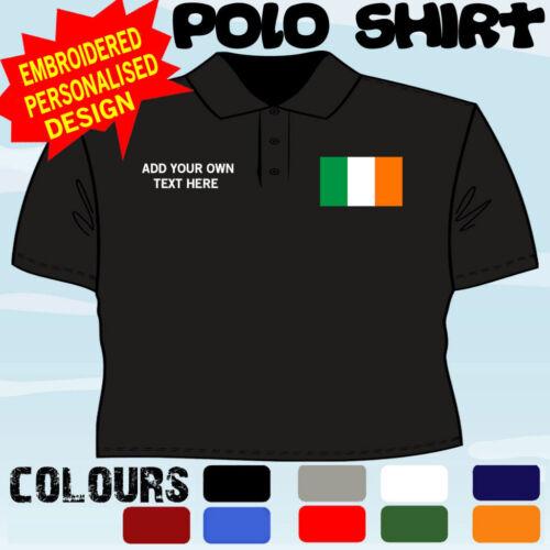 PERSONALISED IRISH IRELAND  FLAG EMBLEM T POLO SHIRT EMBROIDERED