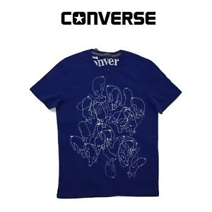 Converse-Mens-Blue-Everyday-Short-Sleeved-Cotton-T-shirt-New-S-M-L