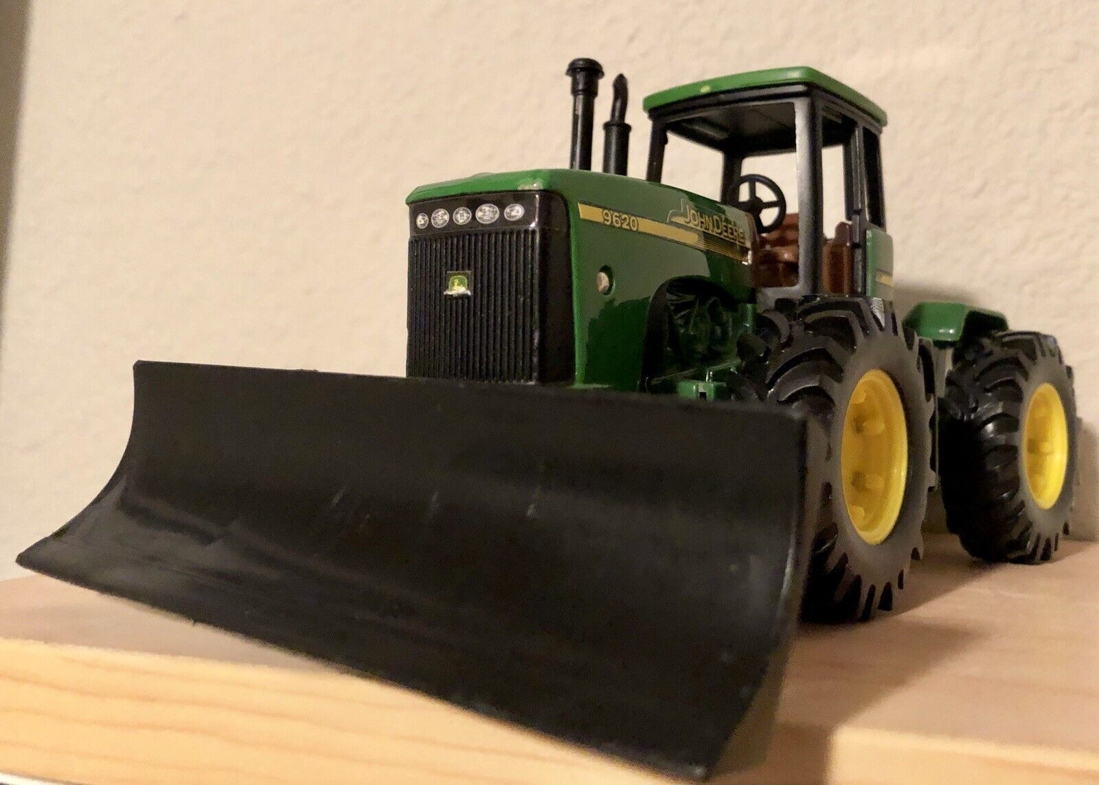 "9"" John Deere Tractor 9620 With Road Scraper Attachment Vintage Farm Diecast Toy"