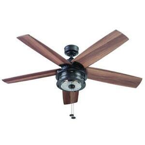 52 Matte Black Led Indoor Outdoor Ceiling Fan With Light Kit Ebay