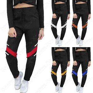 Mujer Negro Cargo Militar Pantalon De Chandal Informal Pantalones Elasticos Ebay