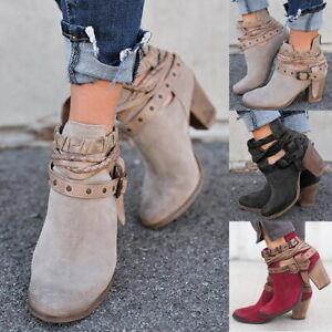 Femmes-Bout-rond-Buckle-Strap-talon-epais-Closure-Bottines-Chaussure-Shoe-04