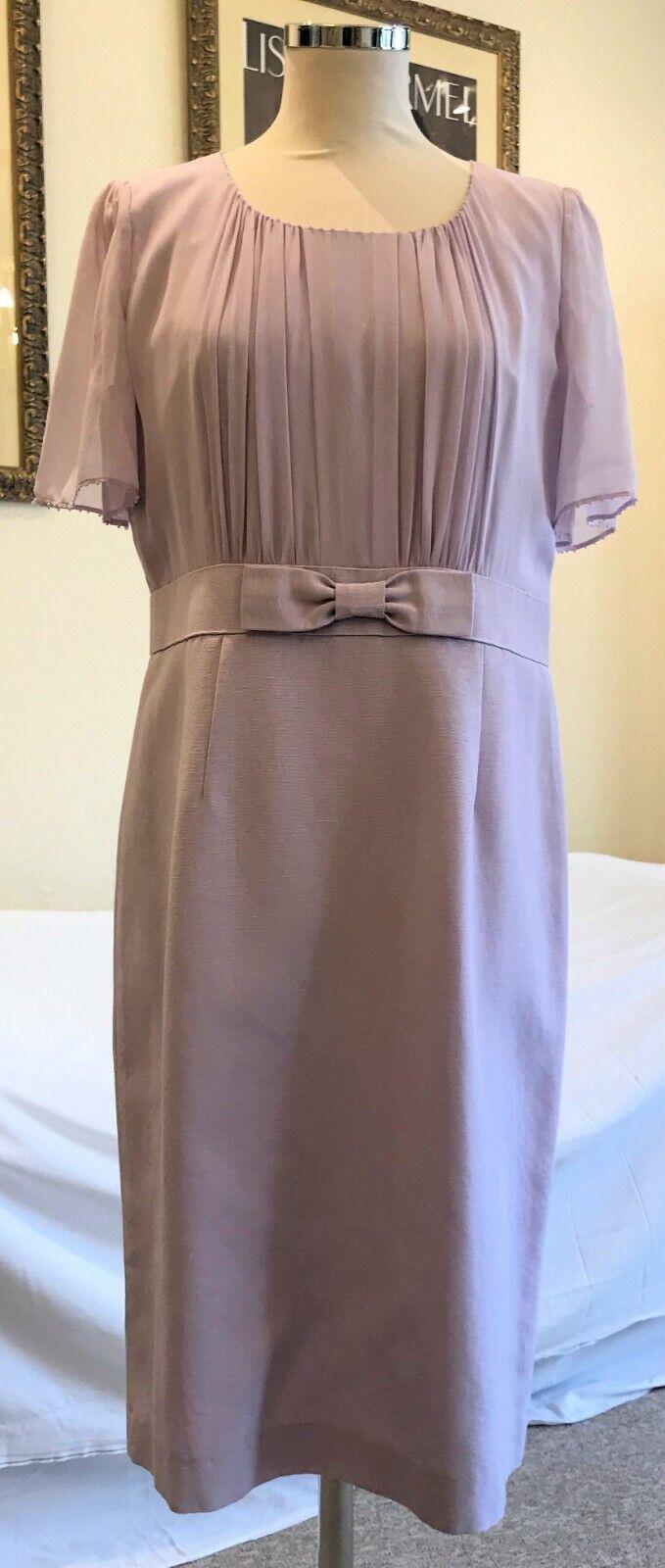 COUNTRY CASUALS Silk Chiffon & Cotton Blend Grosgrain Dress, UK 12, Mauve