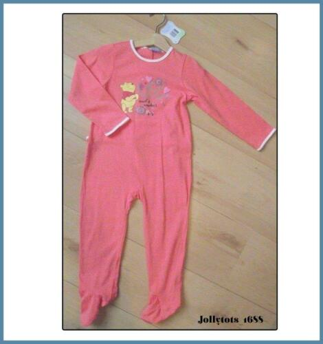 New Baby Girls Disney Clothes Winnie The Pooh Babygrow Character Sleepsuit 9 Mth