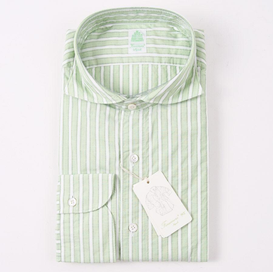 NWT  FINAMORE Green-White Stripe Lightweight Cotton Shirt 16.5 x 37 Slim-Fit