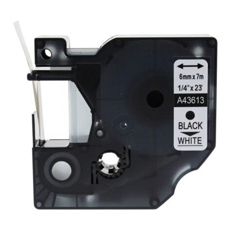 Schriftband für DYMO D1 43613 6mm Schwarz auf Weiß LabelManager 100 120P 150