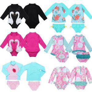 Baby-Girls-Long-Sleeves-Printed-Swimsuit-Swimwear-Rash-Guard-Bathing-Suit-Set