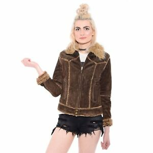 Vtg-90s-Suede-SHAGGY-FAUX-FUR-Trim-Almost-Famous-Hippie-Rave-Boho-Jacket-Coat-S