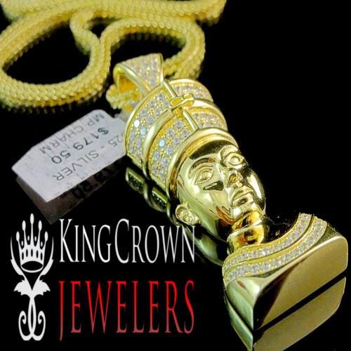 Mens 10k Yellow Gold Silver Egyptian Queen Nefertiti Simu Diamond Pendant Chain